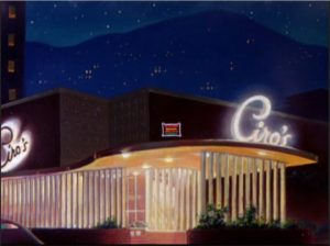 "A still from the cartoon ""Hollywood's Night Out"" shows the Ciro's exterior"